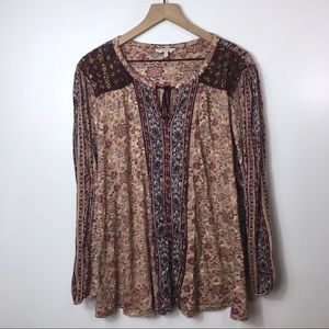 Lucky Brand Bohemian Tunic in Dusty Rose 3X